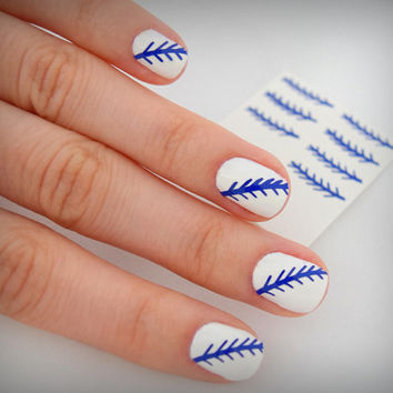 2 sets of BLUE NAIL ART / Baseball Nail Stitches / Stickers / Baseball Nails (2 sets included= 24 stitches)