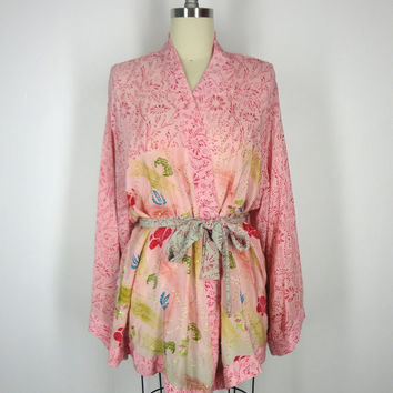 Silk Kimono / Festival Jacket / Hand Made Vintage Indian Sari / Pink Floral Print / Kantha Embroidery / Limited Edition