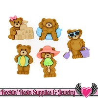 Jesse James Buttons 5pc SUMMER BEARS Teddy Bear Buttons