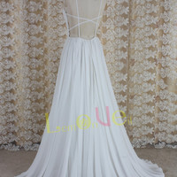 white chiffon and lace boho backless prom dress,floor length lace prom dress