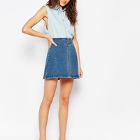 ASOS | ASOS Denim A-Line Skirt With Zip Front at ASOS
