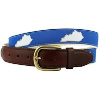 KY Lexington Gameday Leather Tab Belt in Blue Ribbon with White Canvas Backing by State Traditions