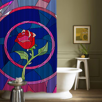 """Beauty And The Beast Rose Glass High Quality Custom Shower Curtains 60"""" x 72"""""""