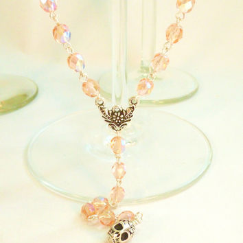 Pink Crystal with Silver Sugar Skull Extra Long Rosary Style Necklace