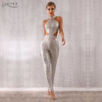 Adyce 2019 New Summer Woman Sequined Club Jumpsuits Sexy Hollow Out Halter Silver Sleeveless Celebrity Party Jumpsuits Rompers
