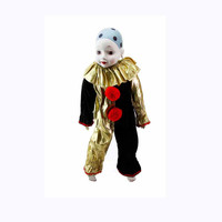 "Huge 22"" Inch Tall Porcelain Harlequin Doll Earring Black Velvet Gold Lame Great Hand Painted Face Polka Dot Cap Pierrot Jester Home Party"