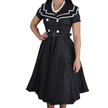 Vintage Design 60's Sailor Black Satin Flare Swing Dress