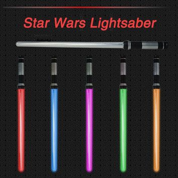 Star Wars Force Episode 1 2 3 4 5 2 Pieces Sound Led  Lightsaber Cosplay Props Kids Double Light Saber Toy Sword for Boys Christmas Gifts AT_72_6