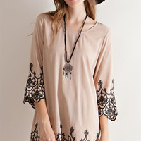 Embroidered Shift Dress - Taupe
