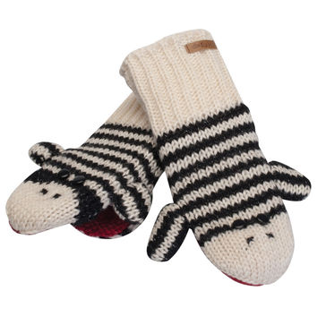 Cute Stripe Sock Monkey Knit Mittens