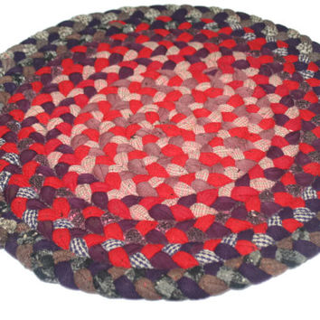 ON SALE Vintage Round Braided Rug,Small Rug