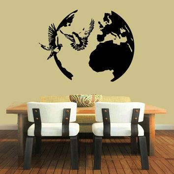 Dove Collection -  Peace Doves Flying Symbol Around Globe Vinyl Wall Decals