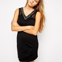 Jasmine Bodycon Dress with Beaded Neckline