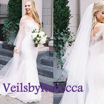 2 tiers cathedral lace veil-cathedral lace bottom veil with plain tulle blusher ,french Chantilly lace tulle cathedral veil V612B