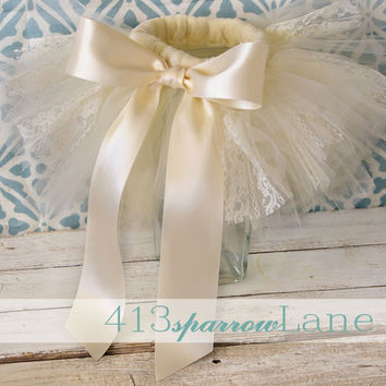 Zoila Ivory Vintage Lace Tutu Newborn Photography Prop Shabby Chic Romantic-Made To Order