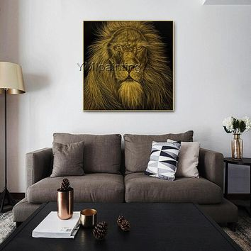 Original Lion canvas art painting on canvas art gold Animal paintings cuadros abstractos knife scrape painting Wall pictures Home Decor