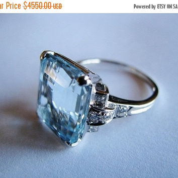 Christmas Ring Sale Platinum Ring - Tiffany - Blue Topaz Emerald Cut - 8 Brilliant Cut Diamonds - 4 Square Cut Princess Diamonds