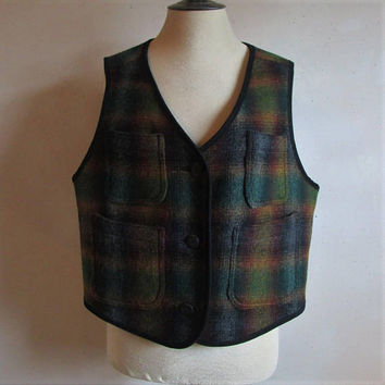 Vintage 90s Woolrich Womens Vest Wool Plaid Ambr Ombre 1990s Dark Green Gold Black Sleeveless Vest Made In USA XL