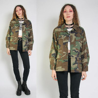 Vintage Camo Military Jacket - Camoflauge Army Jacket - Oversized - Army Jacket - Grunge - USA Army Jacket - 90s 80s Vintage