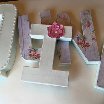 "Mint, Baby blue, Pink & Pearls Shabby Chic 12"" Paper Mache Girls Nursery Letters, Quinn"