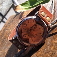 Retro style watch, wrist watch bracelet, Brown Leather Bracelet  Watch, Handmade Women's Watch, Everyday Bracelet  PB0150