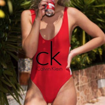 CK Swim Calvin Klein Bikini Hot Sale Vest Type One Piece Swimmer Bathingsuit B-ZDY-AK Red