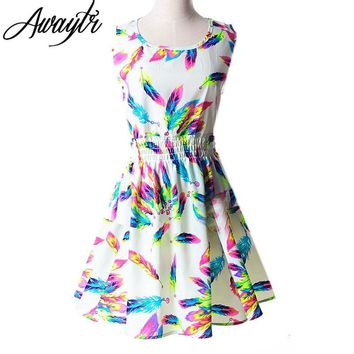 19 Colors New Summer Women Dress Casual Sleeveless Chiffon Feather Floral Print Dress Vestidos Femininos Beach Dresses