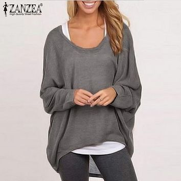 ZANZEA Women Blouse 2018 Spring Autumn Ladies Blusa Femininas Long Batwing Sleeve Solid Shirts Femme Casual Loose Plus Size Tops