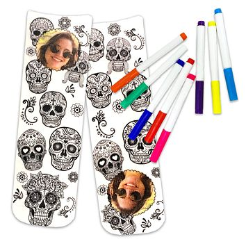 Sugar Skull Crew Socks to Color In, Personalized with Your Photo