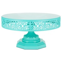 12 Inch Round Metal Wedding Cake Stand (Teal)