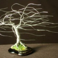 Wire Bonsai Tree Sculpture Windswept Mini Tree - 4x5x5