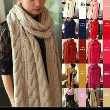 Scarf women Lady Long Wool Pashmina Warm Knit Hood Cowl Winter Neck Wrap Scarf Shawl