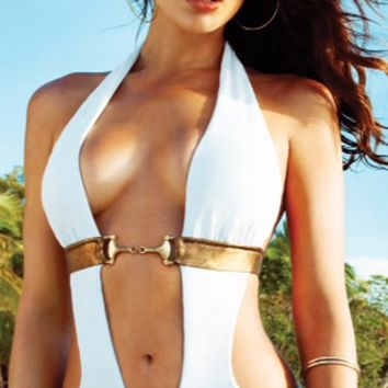 Beach Bunny 2014 Unbridled White Monokini One Piece