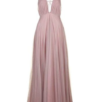 Tulle Lace-Up Maxi Dress