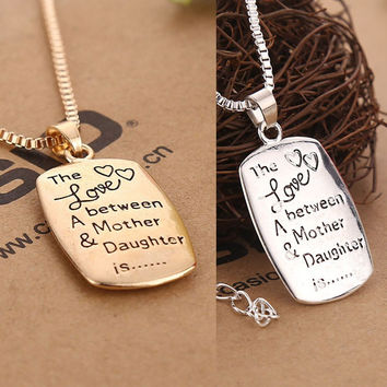 Mother/Daughter Engraved Rectangular Mother's Day Pendant Necklace Jewelry Gift