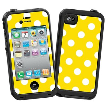 White Polka Dot on Sunshine Skin  for the iPhone 4/4S Lifeproof Case by skinzy.com