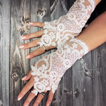 Wedding gloves beaded pearls ivory bridal gloves lace gloves fingerless gloves french lace gloves