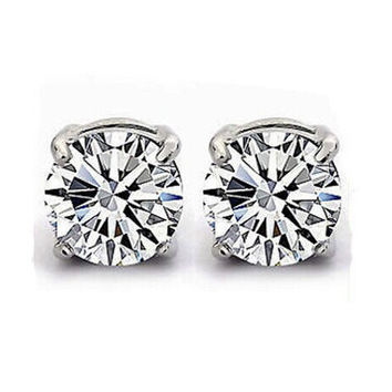 White Clear Crystal Magnet Earring Unisex Mens stud Earrings Clear--4 Claw ES036