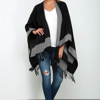 Precipice Palace Black and Grey Poncho