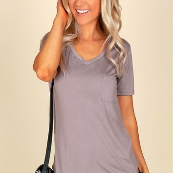 V-Neck Pocket Tee Balsamic
