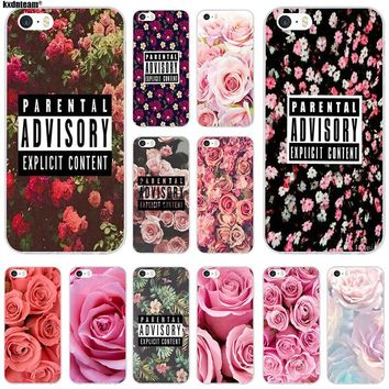 Tumblr Parental Advisory Flowers Soft TPU Silicon Mobile Phone Cases Cover for iPhone 4 4S 5 5S 5C SE 6 6S 7 8 X Plus Coque Bags