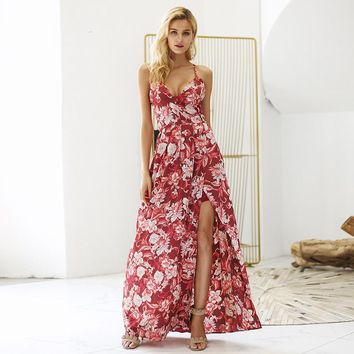 Red Backless lace up high split long maxi dress