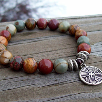 Red Creek Jasper - Meditation Bracelet with Labyrinth charm