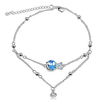 Stylish Ladies Shiny Cute Jewelry Sexy New Arrival Gift Crystal Couple Chain Accessory Anklet [6049518465]