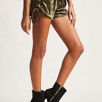 Crushed Velvet Lace-Up Shorts