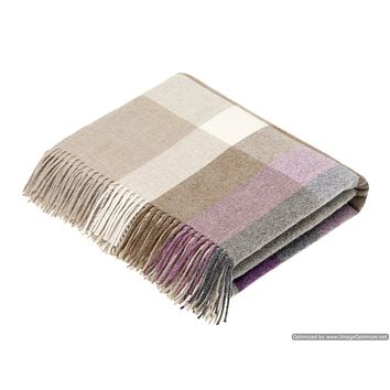 Merino Lambswool Throw Blanket - Harley Stripe - Clover, Made in England,