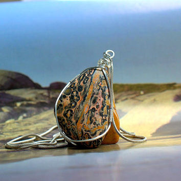 Jasper pendant Leopardskin stone silver wire wrapped free form shape with necklace