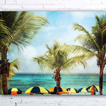 Isla Catalina - fine art photograph, tropical beach photography, beach umbrellas, palm tree decor, dominican republic, beach house decor