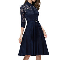 Lace Pleated Mid Dress