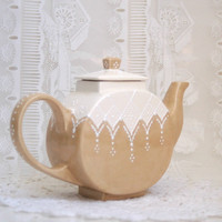 Victorian styled teapot hand painted by Dprintsclayful on Etsy